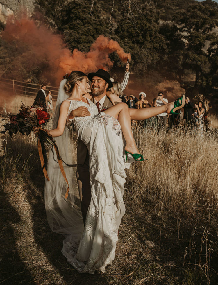 Smoke bombs are amazing for the wedding exit, and look at the gorgeous green wedding shoes