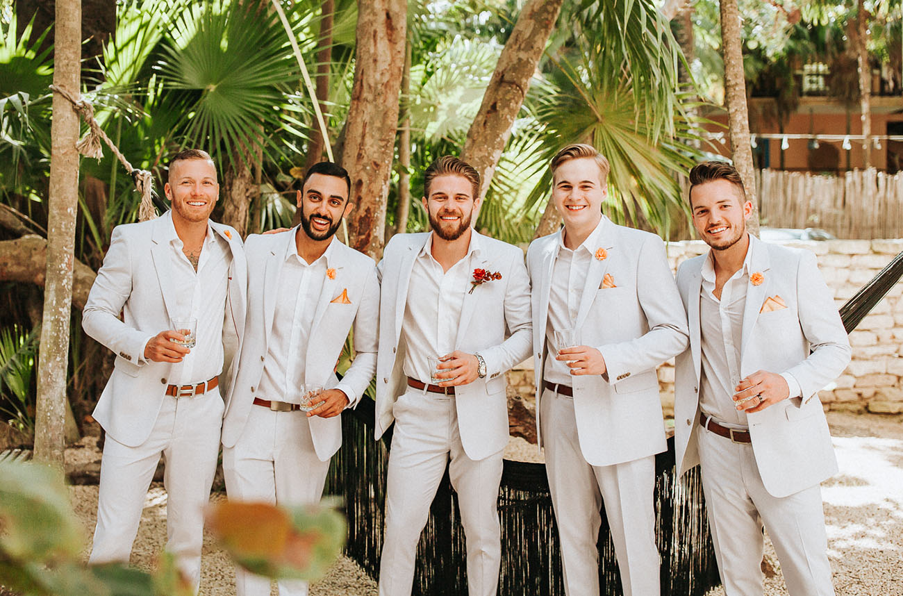 The groomsmen were wearing the same as the groom