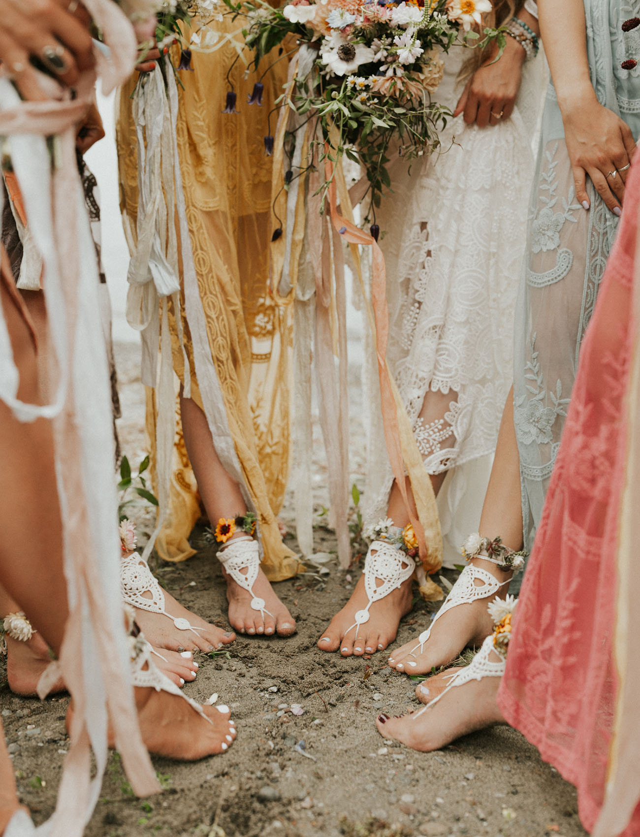barefoot sandals is a cool idea for a lakeside wedding