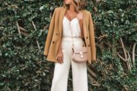 05 a white silk top, white culottes, animal print shoes, a tan blazer and a blush crossbody bag