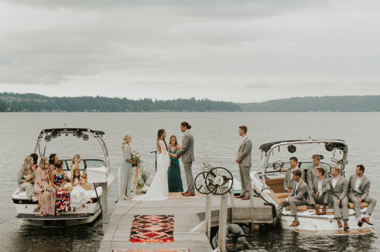 The ceremony took place right on the lake and the parties were sitting in boats