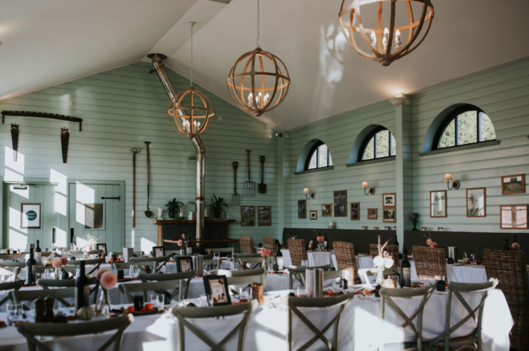 The wedding venue was rather neutral, yet very rustic and decor was minimal