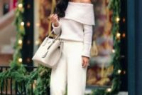 06 white palazzo pants, an off the shoulder sweater and metallic shoes plus a neutral bag
