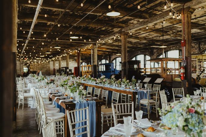 The reception venue was an old Ford plant with real cars inside