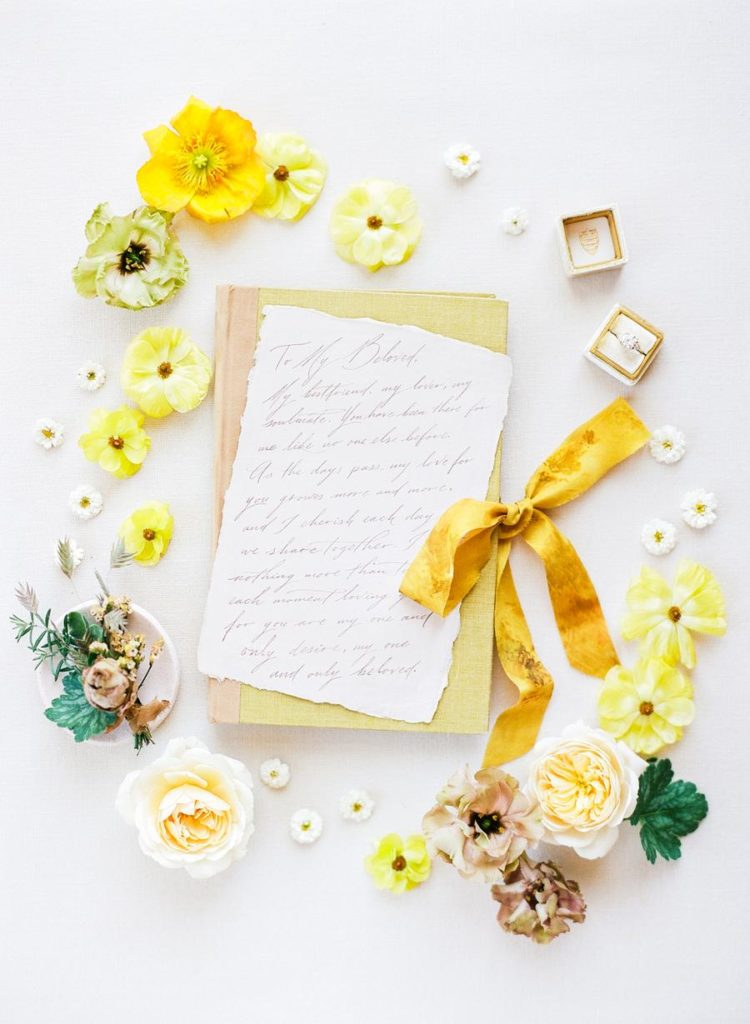 The wedding stationery was done in neutrals and yellow that reminded of sunshine