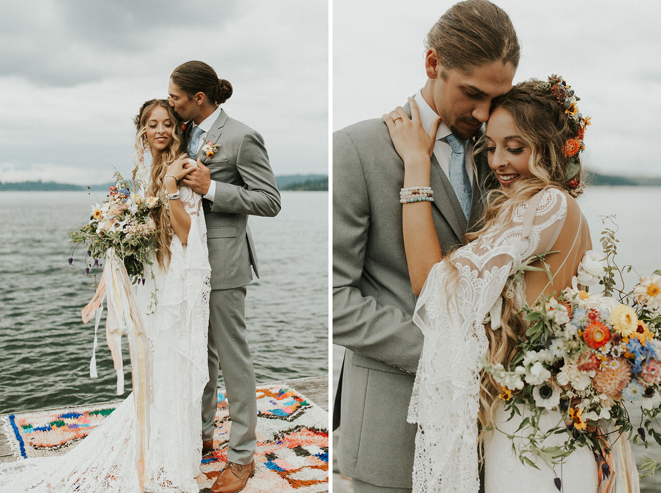 The groom was wearing a light grey suit, a blue tie and brown shoes plus a man bun