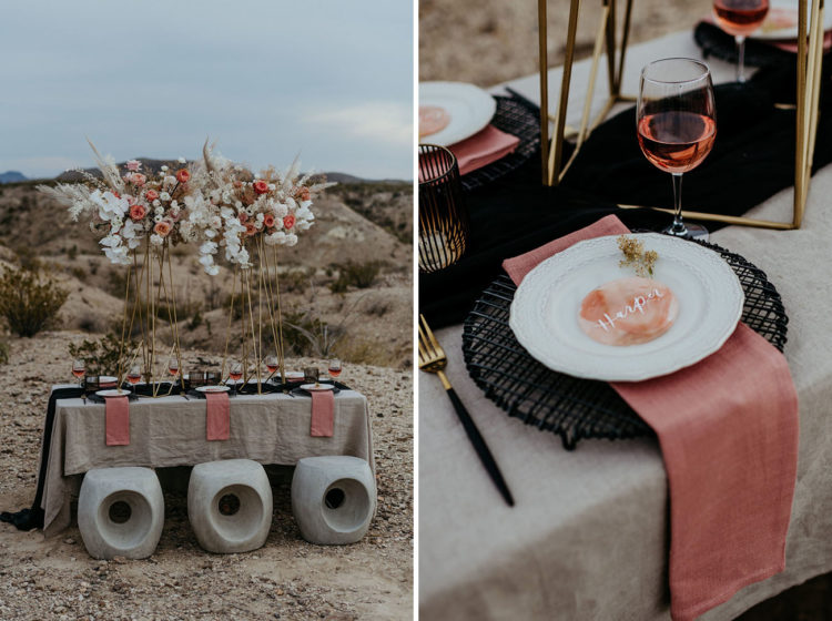 The table was laid with neutral, pink and black textiles, woven chargers and black cutlery