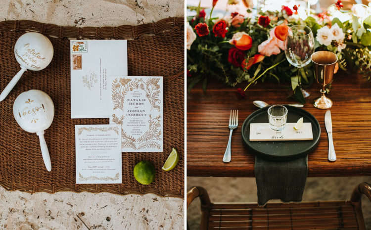 The wedding table was done with lush florals, gold goblets and dark items to contrast