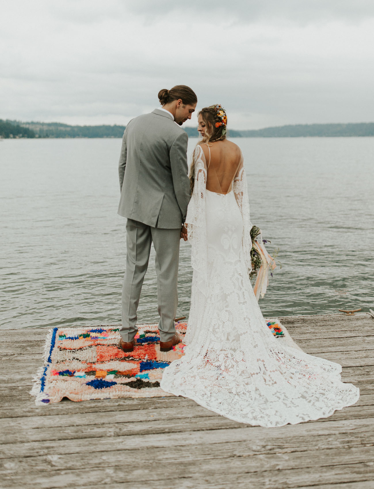 The wedding dress featured an open back for a sexy look