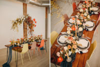 09 The wedding florals were done in blush and mustard, with colored candles and some metallic chargers