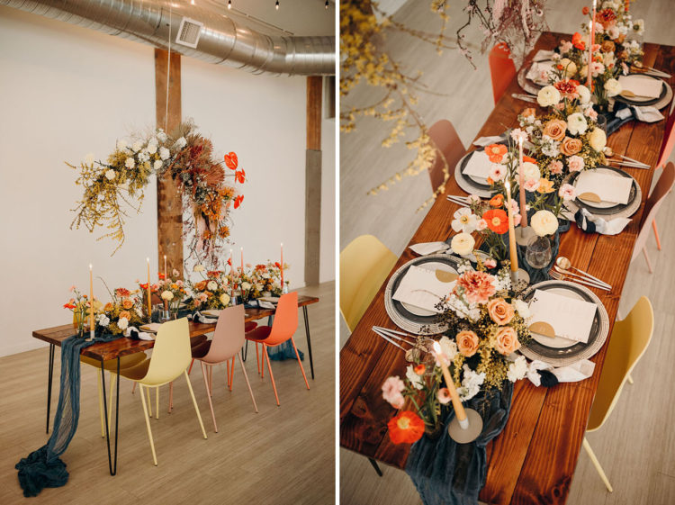 The wedding florals were done in blush and mustard, with colored candles and some metallic chargers