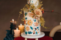 10 The wedding cake was a floral one, decorated with the same blooms and blooming branches