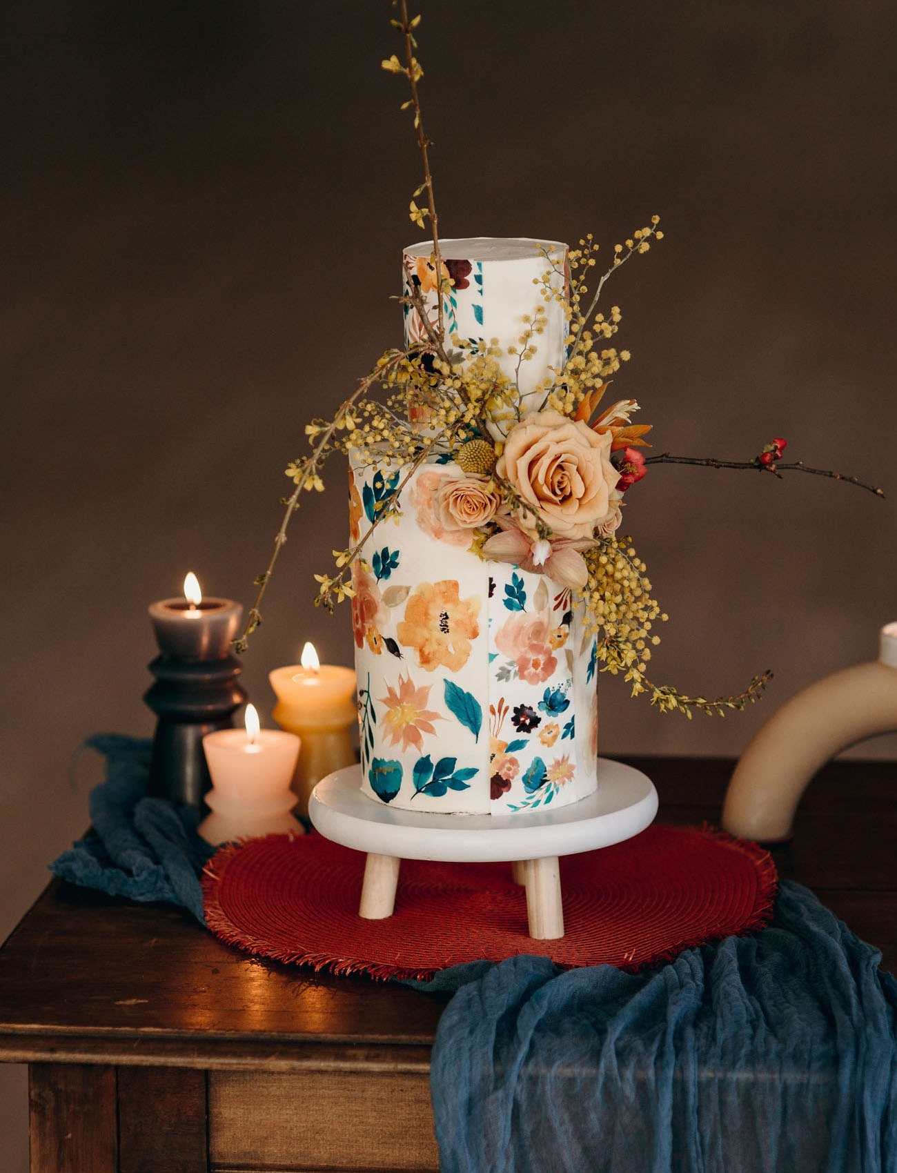 The wedding cake was a floral one, decorated with the same blooms and blooming branches