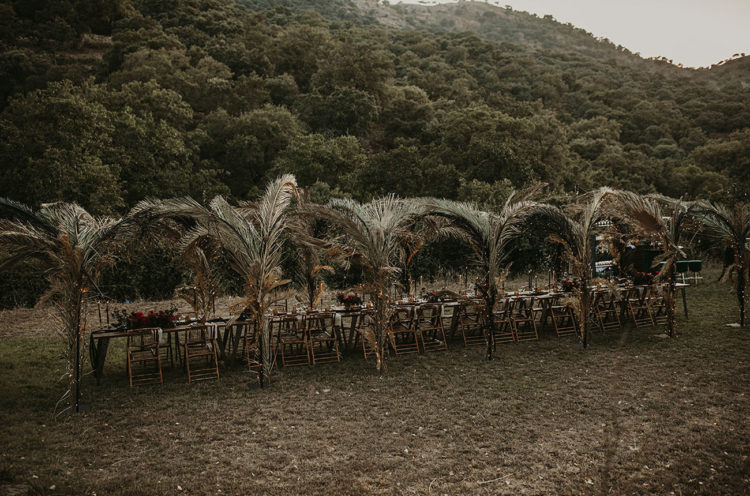 The wedding reception was lined up with dried fronds