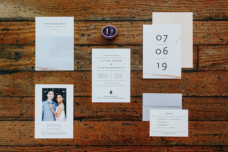 The wedding stationery was done with marble prints