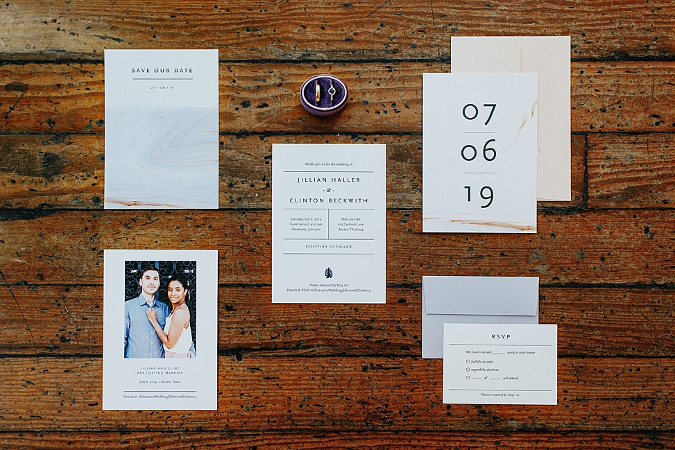 wedding stationary with marble details