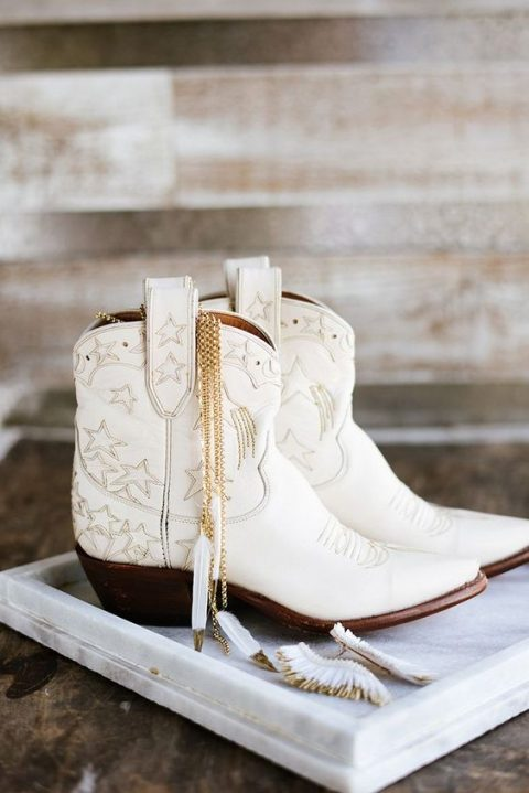white cowboy booties with embroidered stars are a nice idea for a cowboy or a boho bride