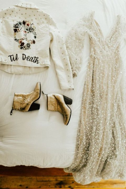 gold booties with comfortable heels, an embellished wedding dress and a white leather jacket for a modern boho bride