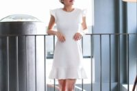 22 a white mini dress with cap ruffle sleeves, a high neckline and nude shoes for a casual or minimalist bride-to-be