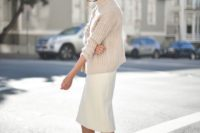 25 a winter bridal shower outfit with a chunky knit sweater, a midi skirt, nude shoes is simple and cool