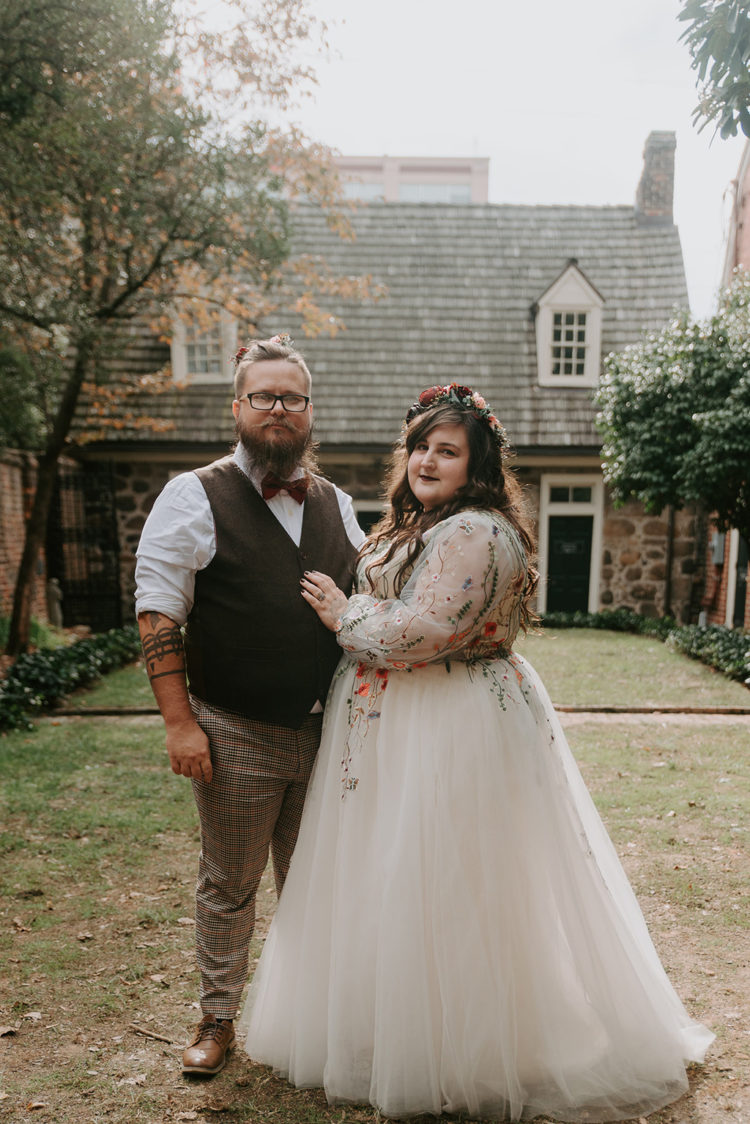 This couple went for a cool fall Edgar Allan Poe themed wedding as he's their favorite writer