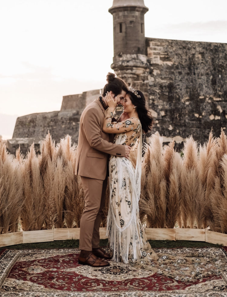 This destination wedding shoot took place in Puerto Rico, in a castle and was filled with all things boho