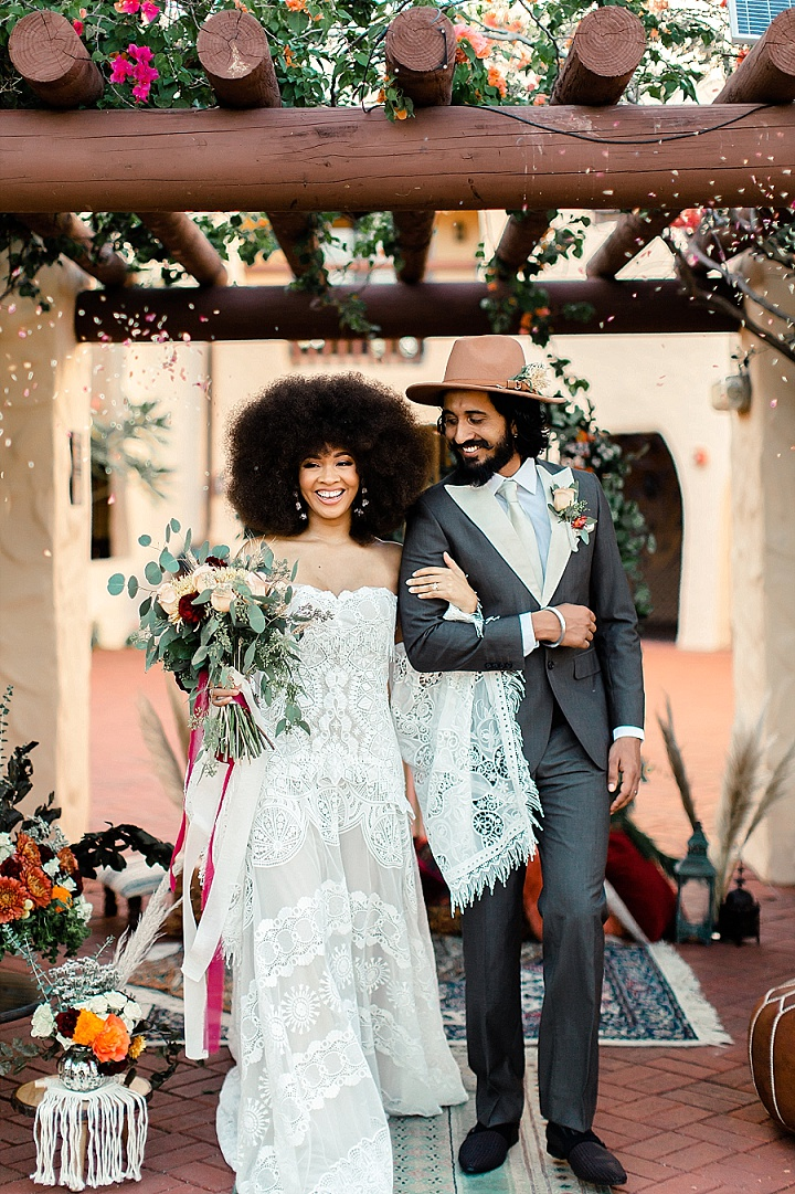 This real life couple went through their second wedding in boho 70s style during this wedding shoot in Miami
