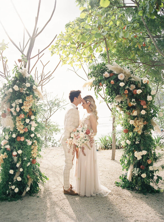 This wedding shoot took place in Costa Rica and was done in earthy and peachy tones