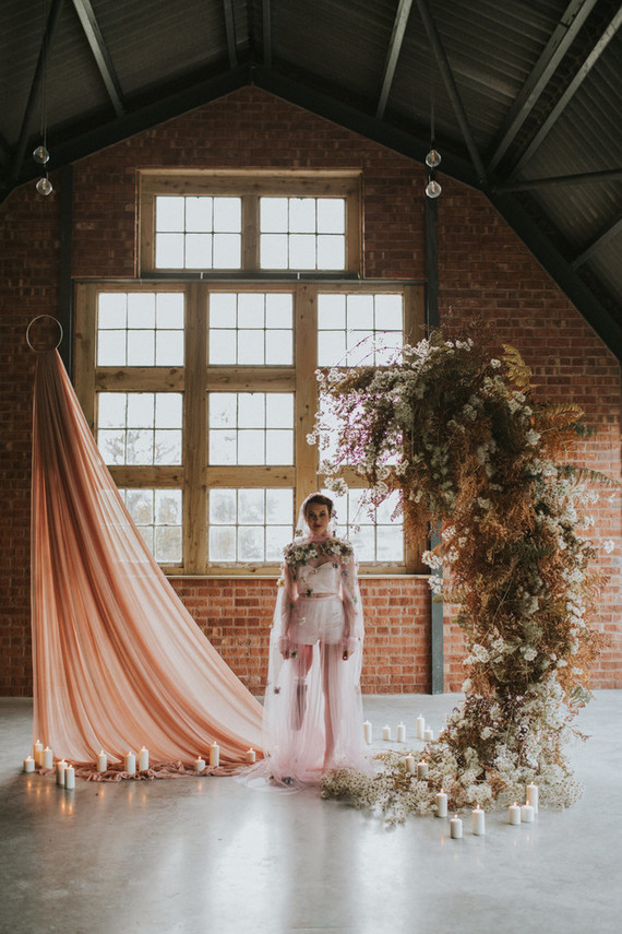 Moody Dusty Pink Bridal Shoot With Dried Blooms
