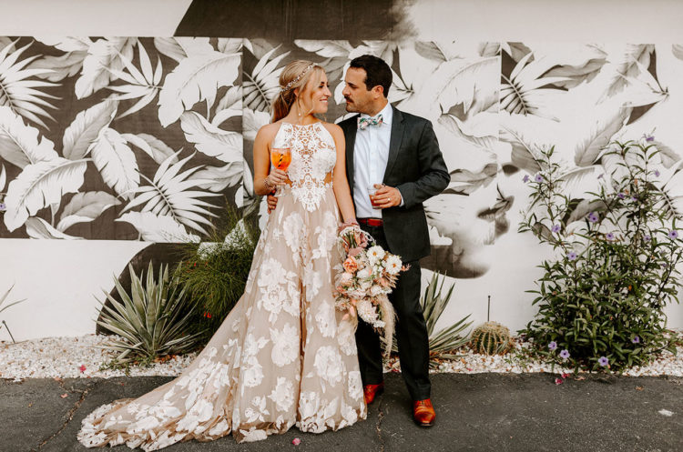 This wedding was super fun, funky and outdoor, with pastels, florals and painted palms