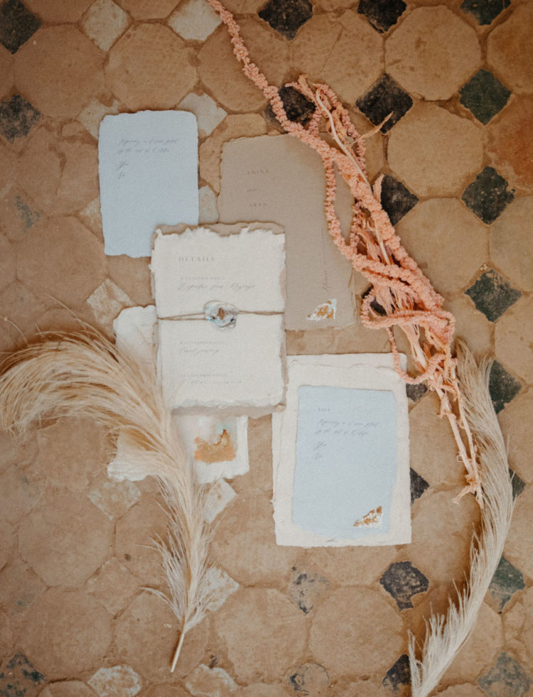 The wedding stationary was dreamy, neutral and with a raw edge