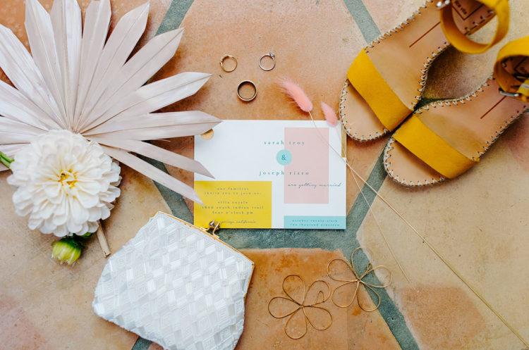 The wedding stationery was done bright and color block