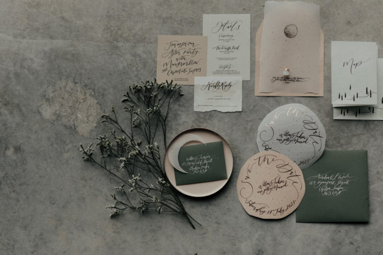 The wedding stationery was done neutral and earthy, too, with chic calligraphy