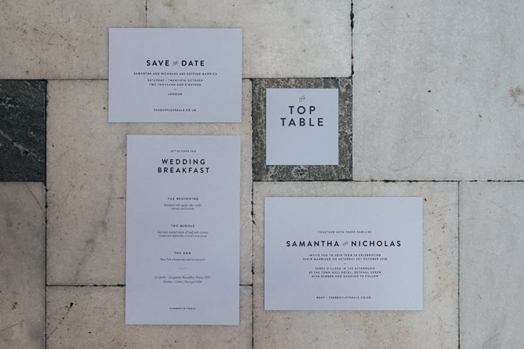 The wedding stationery was done neutral to match the color scheme of the wedding