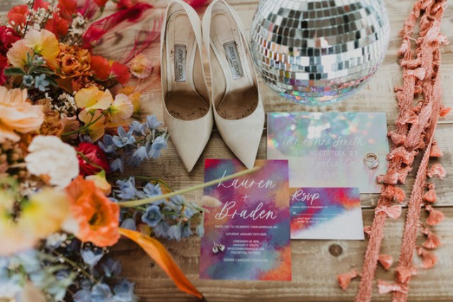 The wedding stationery was done super bright and colroful, with watercolors