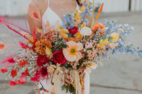 03 The wedding bouquet was done with super bright blooms in various colors
