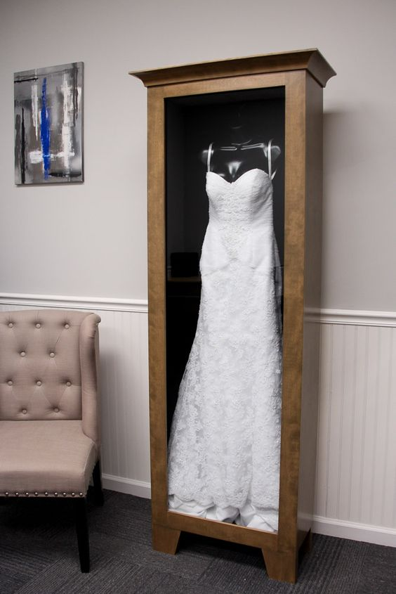 such a box for your wedding dress is a great idea, it's cool and dry but keep it somewhere dark