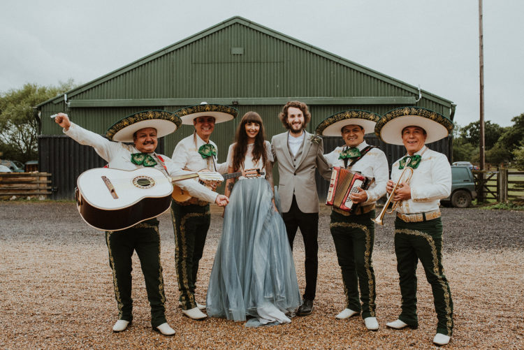A mariachi band congratulated the couple after the ceremony