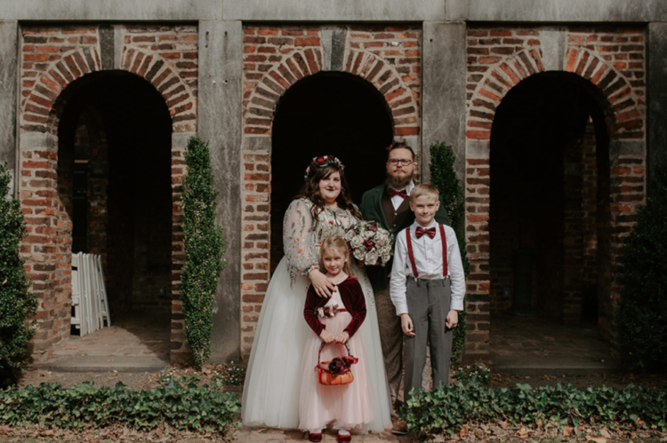 The couple's kids took part in the wedding, too, as a flower girl and a ring bearer