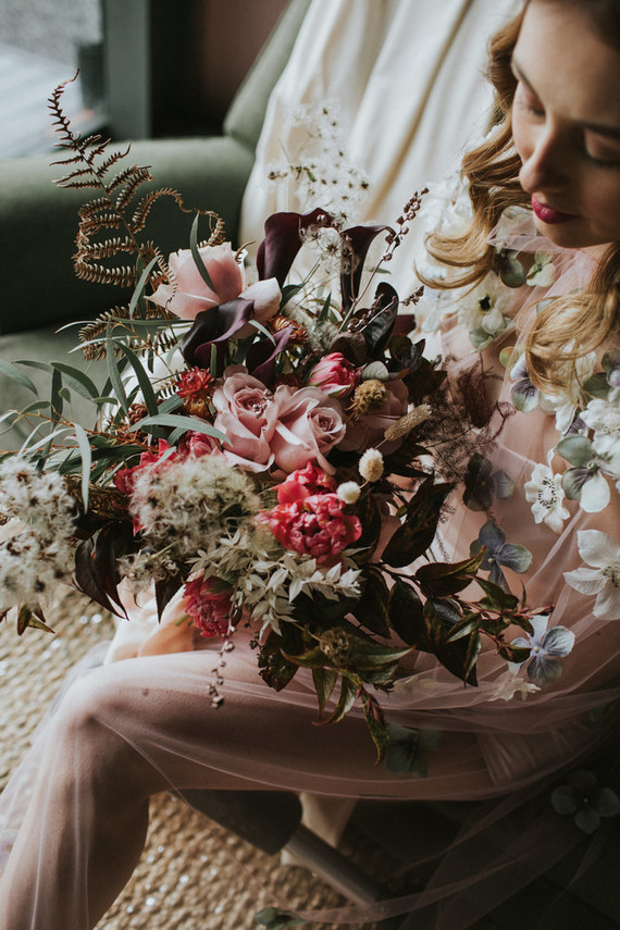 The wedding bouquet was done in blush, hot pink and with lots of greenery