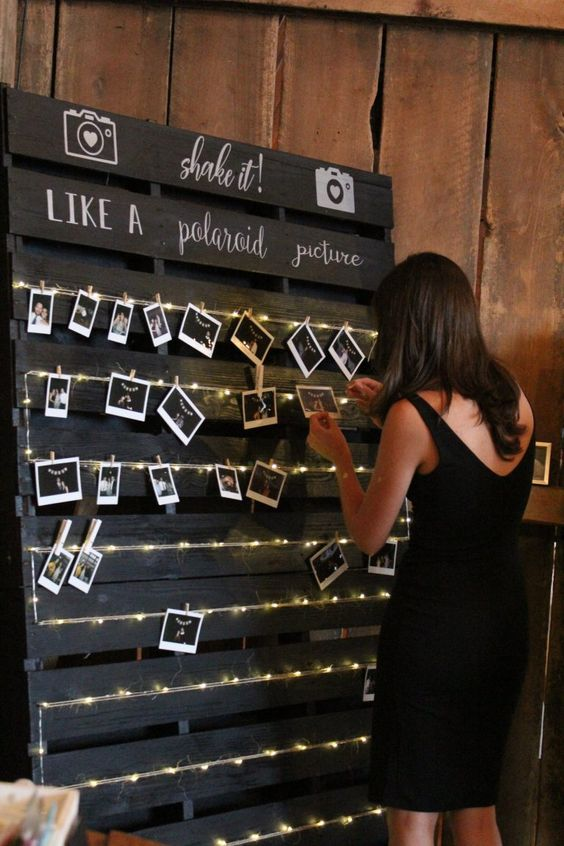 create a DIY wedding guest book alternative - a board with Polaroids and wishes from your guests