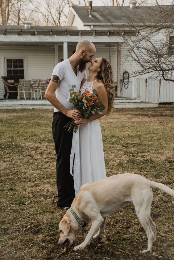 go for a simple and cozy backyard elopement for just the two of you and your pets to celebrate your love