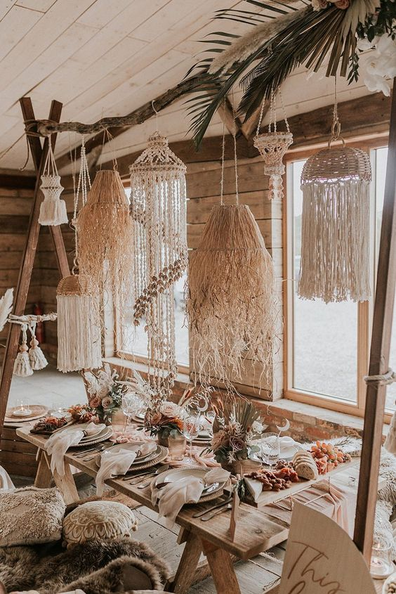 why not hang lots of macrame and use boho items from your home to arrange a cool zone