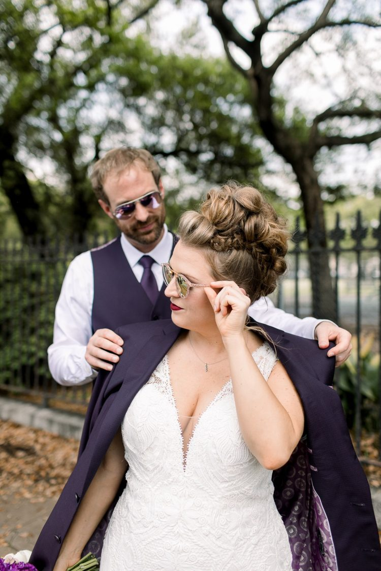 The bride was wearing a whimsical updo with braids and twists