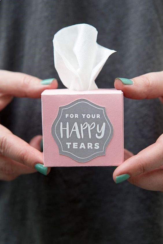 make some little boxes with tissues for those happy tears at the wedding