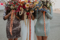 07 The bridesmaids were rocking sequin mini dresses with long sleeves and colorful bouquets