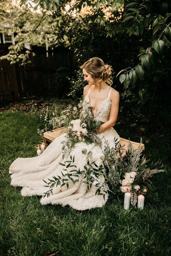 greenery and trees in your backyard will be a perfect natural backdrop for your wedding pics
