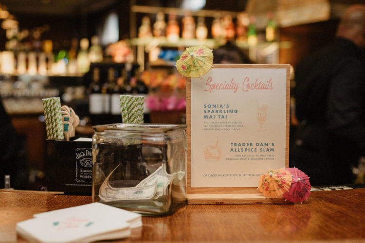 The couple's favorite tiki drinks were signature drinks of the wedding