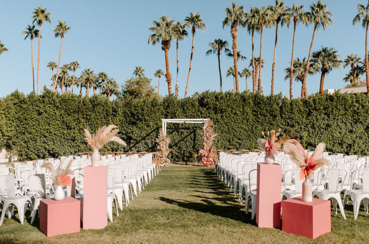 gorgeous pink wedding aisle decor