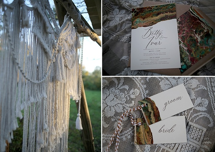 The wedding stationery was done with beautiful natural patterns and cool twine